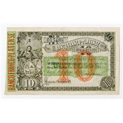 Banco Franco-Platense, 1870 Remainder Banknote.