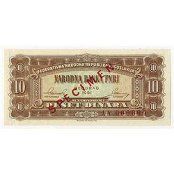 Federativne Narodne Republike Jugoslavije, National Bank, 1951 Specimen Banknote.