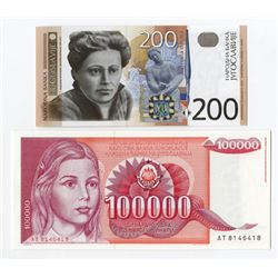 Narodna Banka Jugoslavije. 1989-2001. Pair of Issued Notes.