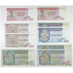 Banque du Zaire. 1976-1980. Group of 9 Issued Banknotes.