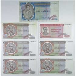 Banque du Zaire. 1977-1980. Group of 7 Issued Banknotes.