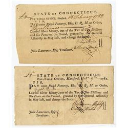 Connecticut. 1781 and 1782 State tax receipts.