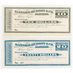 Safford, Hudson & Co. Arizona Territory Scrip Note Pair.