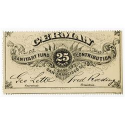 German Sanitary Fund. 1860-65 Obsolete Scrip Note-Lottery Ticket.