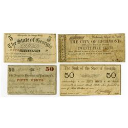 Various Southern Issues. 1861-1863. Quartet of Issued Obsolete Notes.