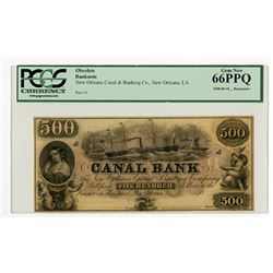 LA. Canal Bank, 18xx (1840-50s) $500 Remainder Obsolete Banknote.