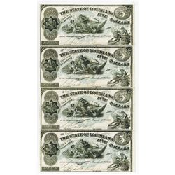 State of Louisiana, 1863 Uncut Sheet of 4 Notes.