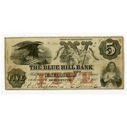 Blue Hill Bank Spurious $5, Aug. 1, 1860 Obsolete Banknote.