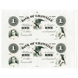 Bank of Granville Uncut Sheet of 2 Proofs.