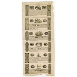 Marietta, Pennsylvania 1837 Uncut Obsolete Scrip Note sheet of 6 Notes.