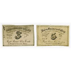 Union Business College. ND (ca.1860-70's). College Currency Fractional Change Pair.