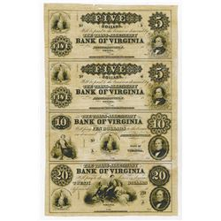 Trans-Alleghany Bank of Virginia, 18xx (ca.1850's) Remainder Uncut Sheet of 4 notes.