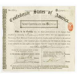 Confederate States of America 1884 Scrip Certificate.