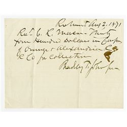 Bradley Tyler Johnson, Confederate General from Maryland, 1871 Autographed Fiscal Document.