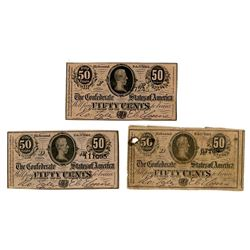 C.S.A., 1864, Trio of Issued 50 Cents Notes