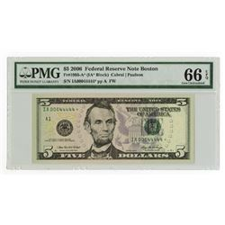U.S. F.R.N., $5, Series 2006, Fr#1993-A*, Star note with binary serial IA 0004444*  PMG graded Gem U