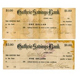 Guthrie Saving Bank, Oklahoma. 1907 Panic Scrip.