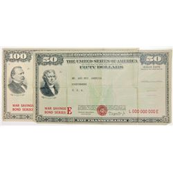 U.S. War Savings Bond, Series E. 1941-1945. Pair of Large Poster-Size Facsimiles.