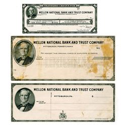 Mellon National Bank and Trust Co., ca.1920's Proof Check and Traveler's Check Trio.