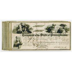 Treasurer of the State of Pennsylvania. 1830s-1860s. Group of 22 Checks.
