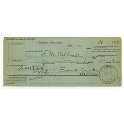 US Postal Money Order. 1899-1900 From Princeton, Wisconsin.