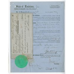 State of Louisiana, May 29th, 1861 Legal Document with attached Promissory Note During Confederate P