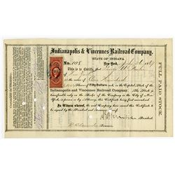 Indianapolis & Vincennes Railroad Co. 1869 Stock Certificate Signed by General Ambrose E Burnside as