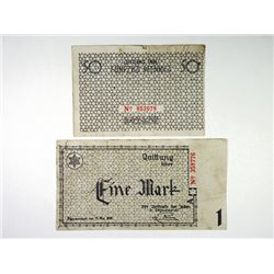 Litzmannstadt Ghetto - Concentration Camp Currency, May, 1940 Banknote Pair.