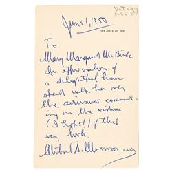Autographed Letter from Michael A. Musmanno, a Nuremburg Judge, to Radio Host Margaret McBride, 1950