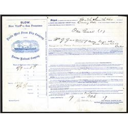 Pacific Mail Steam Ship Company & Panama Railroad Company 1867 Shipping Document For Wells Fargo.