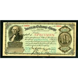 American Exchange in Europe, Limited, 1880's, £20, Specimen Circular Letter of Credit.