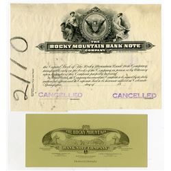 Rocky Mountain Bank Note Co. Proof Stock Certificate and Advertising Blotter.
