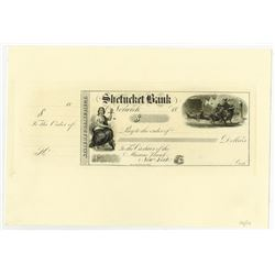 Shetucket Bank, 1858-60's Proof Draft Reprint (ca.1990-2000) by Mike Bean - Only 10 Printed.