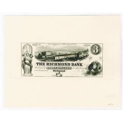 Richmond Bank, 1850's Proof Obsolete Reprint (ca.1990-2000) by Mike Bean - Only 10 Printed.