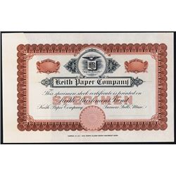 Keith Paper Co. Stock Certificate Sample by ABNC.