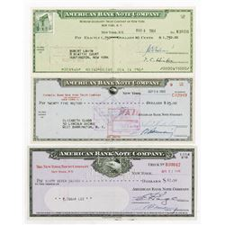 American Bank Note Co. 1948-1964. Trio of Company Checks.