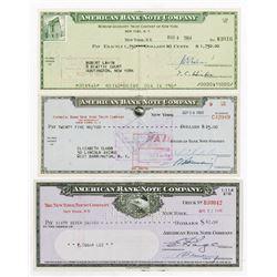 American Bank Note Co. 1948-1964. Trio of Company Checks.