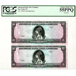 "American Bank Note Co., 1929 Uncut Color Pair of  ""Tyvek"" Notes."