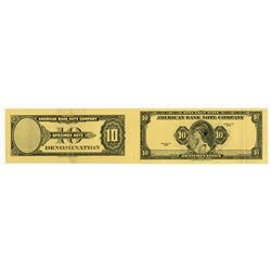 American Bank Note Company. 1929 (ca.1980-1990). Specimen Advertising Note Uncut Pair.