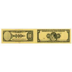 American Bank Note Company. 1929 (ca.1980-1990). Specimen Advertising Note Uncut Pair.