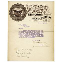 New York Bank Note Co. 1910. Letter with Ornate Company Letterhead