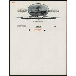 Union Steamship and Railroad Ticket Office Letterhead Specimen.