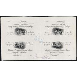 Murphy & Co., 1882 Proof Letterhead Approval Sheet of 4 Letterhead Tops.