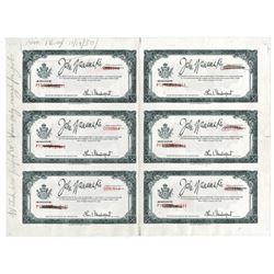 John Wanamaker. 1950, Uncut Error Specimen/Proof Sheet of 6 Merchandise Certificates.