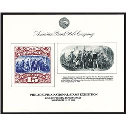 ABNC. 1991. Philadelphia National Stamp Exhibition (King of Prussia, PA). Souvenir Cards (4).