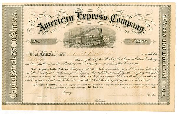 American Express Company, 1856 Stock Certificate signed by Wells, Fargo, on wells farg, wells trade, wells blue bunny logo, wells jewelry company, wells faro, wells fa, wells frago, wells forgo, wells the 100, wells fargobank, wells fargp,