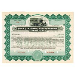 Beam-Fletcher Transportation Co., ca.1910-20 Specimen Stock Certificate.