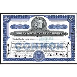 Indian Motocycle Company, 1930 Stock Certificate.