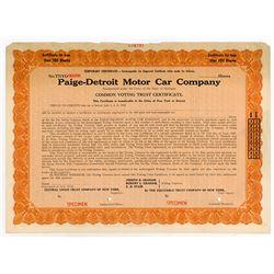 Paige-Detroit Motor Car Co. 1927 Specimen Stock Certificate.