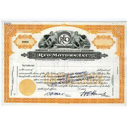 Reo Motors, Inc., ca.1930-40s Specimen Stock Certificate.